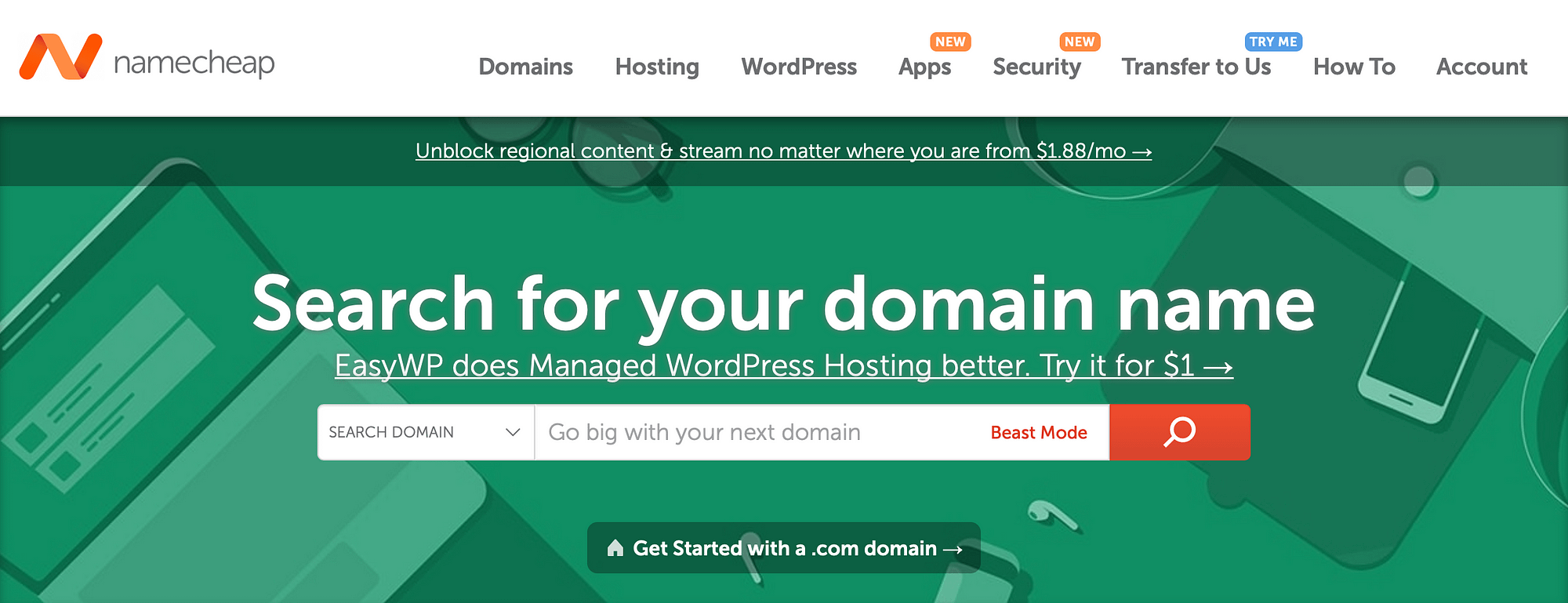Namecheap is one of the best services to register a domain name