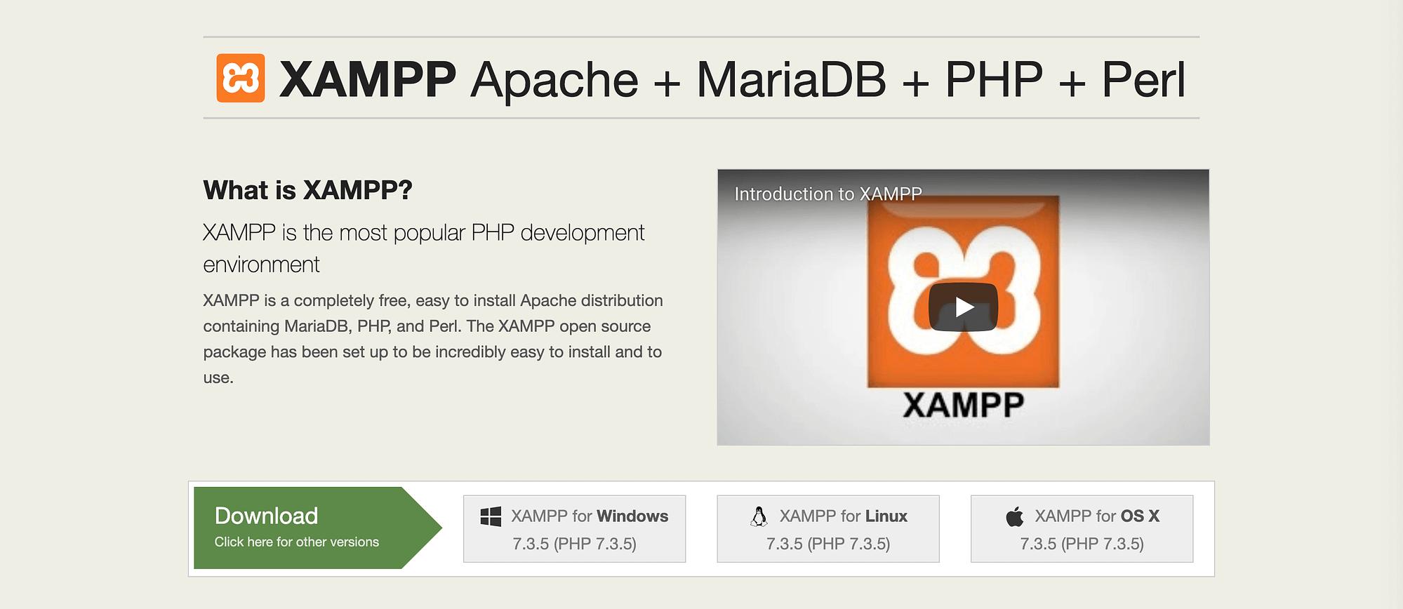 XAMPP web server software.