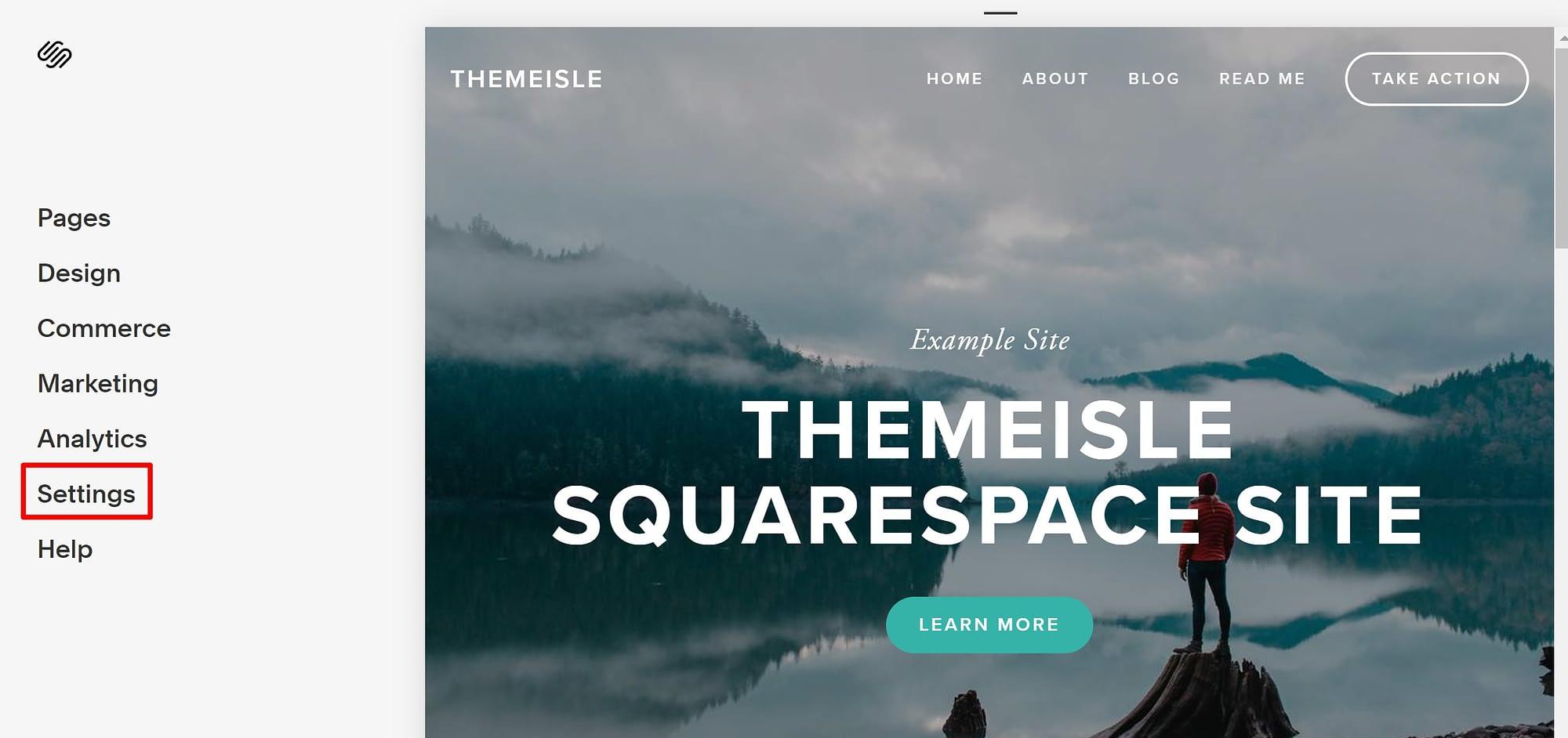 Squarespace settings