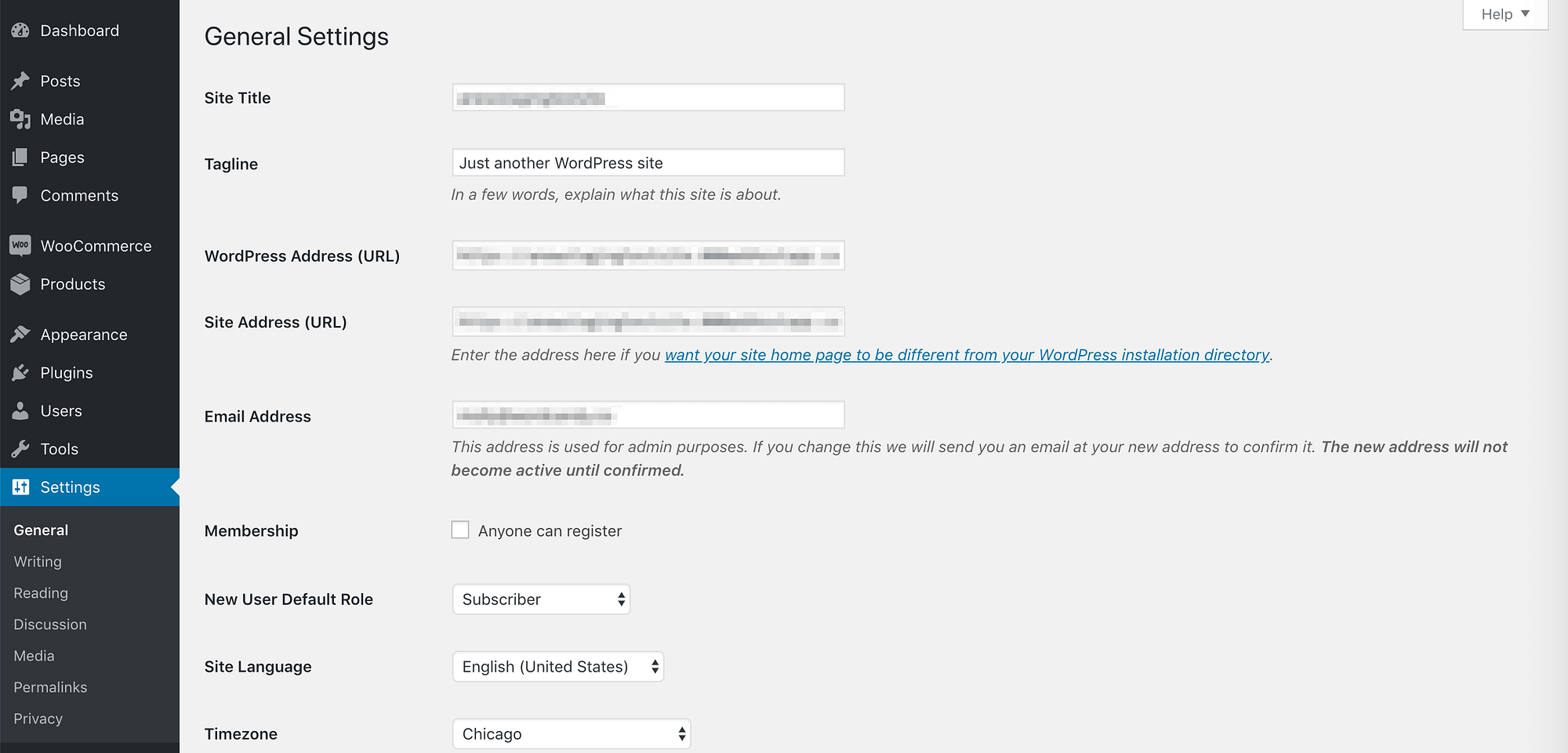 The WordPress General settings page.