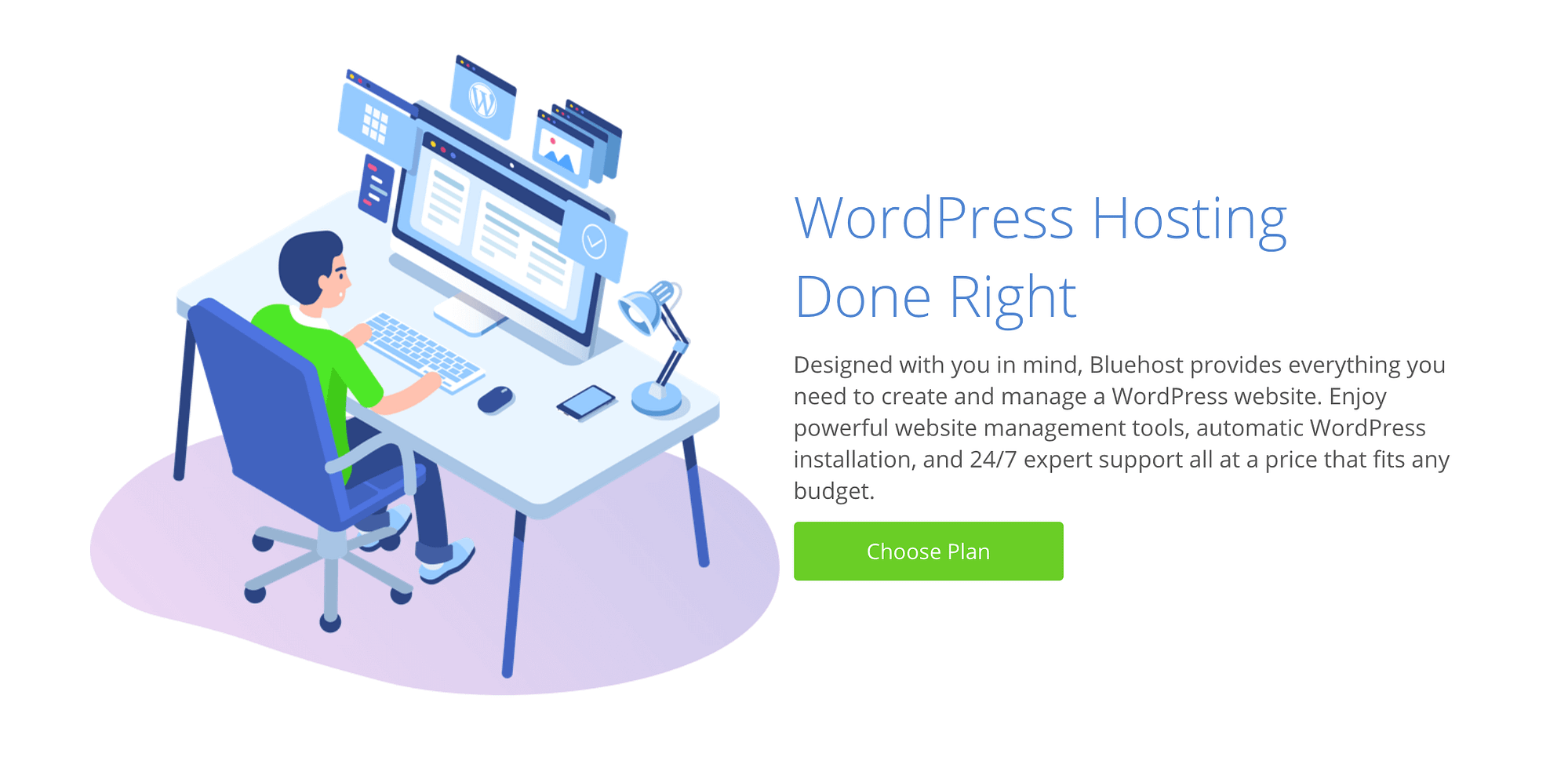 Bluehost's WordPress hosting plans include WordPress pre-installed.