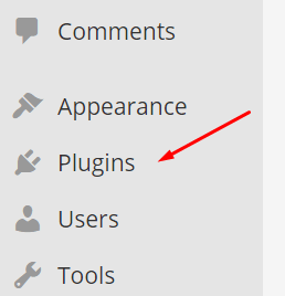 WordPress plugins menu