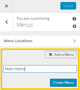Creating a menu using WordPress customizer