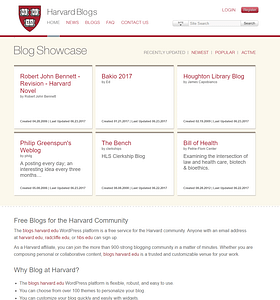Harvard's front page for their blogs