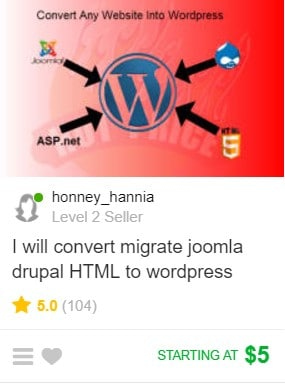 Fivver WordPress gig example