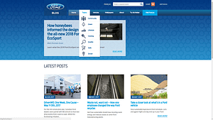 Ford's clean front page with distinctive icons