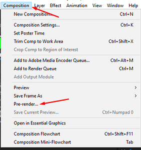 Find pre render in the composition menu