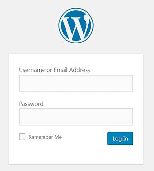 The WordPress login page URL screen.