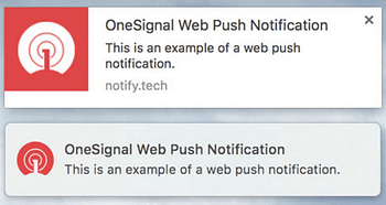 An example of two WordPress push notifications on Mac OS X.