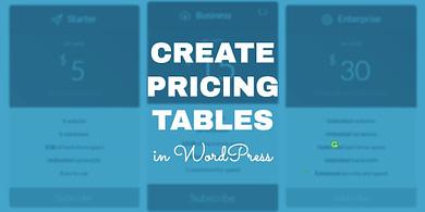 Create WordPress Pricing Tables