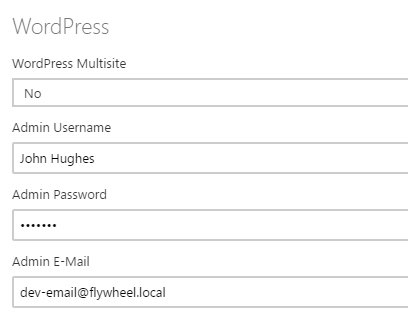 Setting your WordPress username, password, and email.