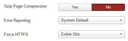 A screenshot of Joomla's Force HTTPS option.