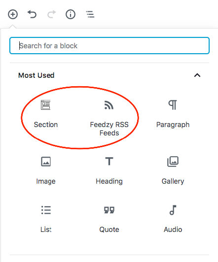 Feedzy and Section blocks in Otter