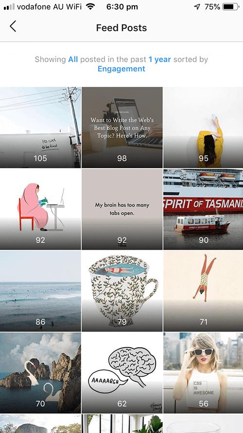 Instagram Insights posts view