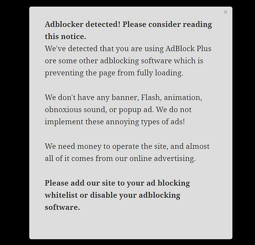 Anti adblock WordPress plugins: adblock notify demo