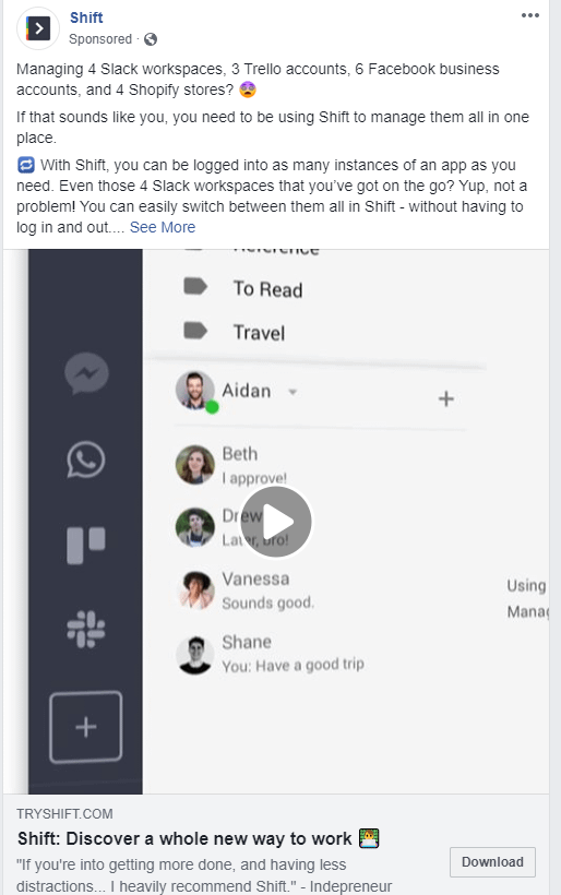 Shift and their Facebook ad strategies