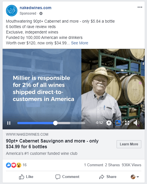 Naked Wines and their Facebook ad strategies