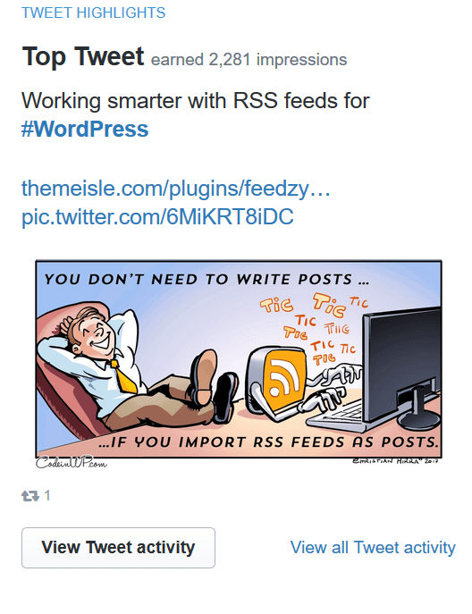The retweet comic post with no engagement got an excellent boost
