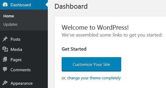 The dashboard of your local WordPress install.