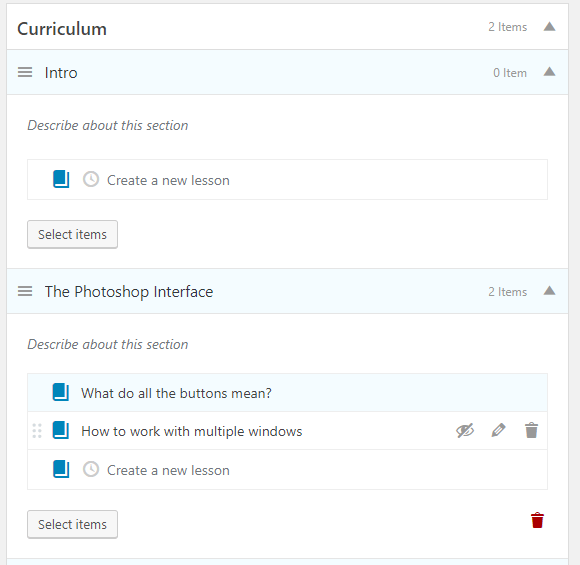 Add new lessons in the course builder