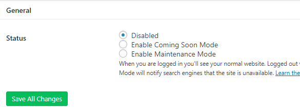 Enabling the Coming Soon mode for your website.