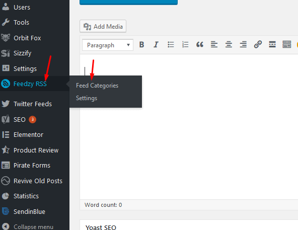 To setup Categories click on Feedzy RSS and then Feed Categories