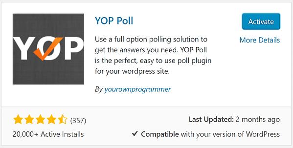 Installing the YOP Poll plugin.
