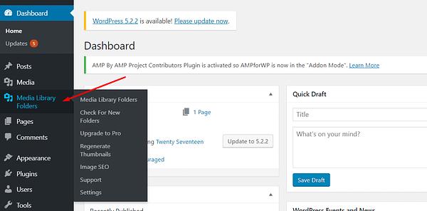 Add WordPress media folders