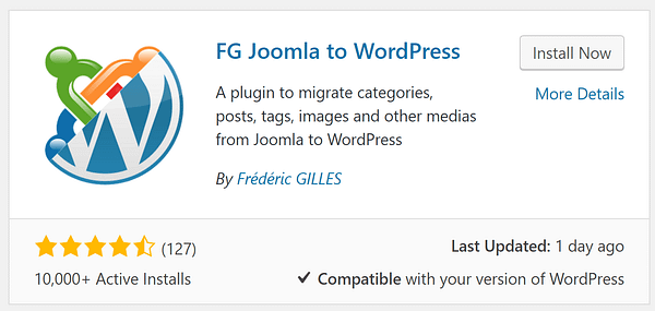 The option to install the FG Joomla to WordPress plugin.