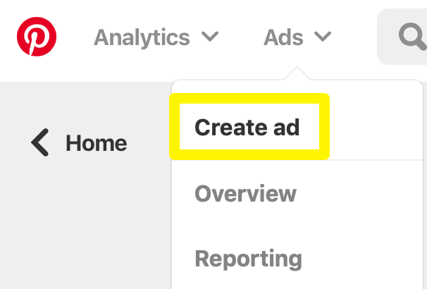 An image showing where to find the Create ad option.