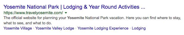 Travel Yosemite meta description