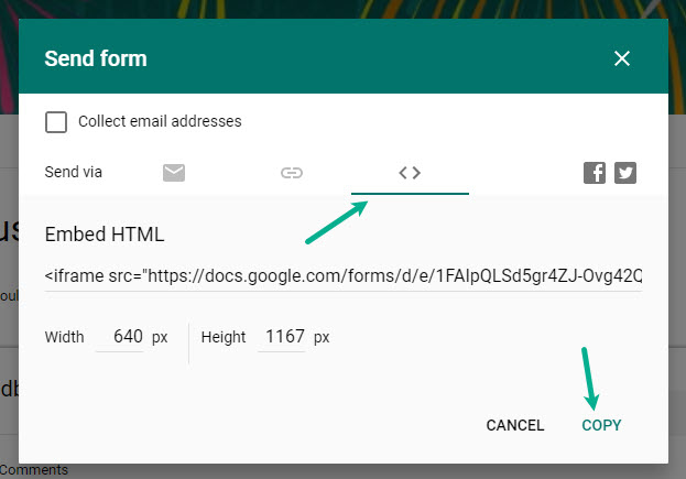 How to generate Google Forms embed code