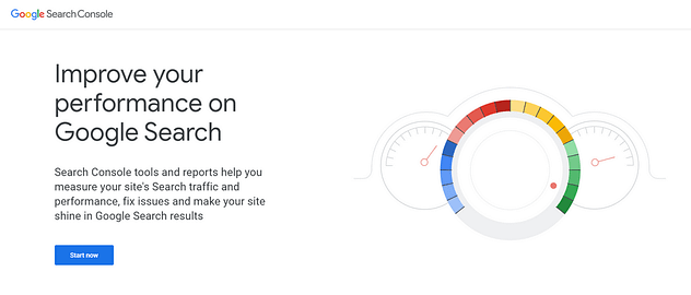 Google Search Console homepage