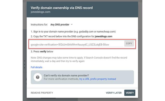 Verify Google Console