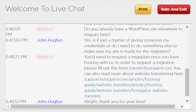 HostGator WordPress hosting review: screenshot from a live chat discussion with a HostGator support agent.