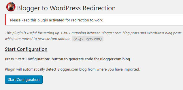 Configuring the Blogger to WordPress plugin.