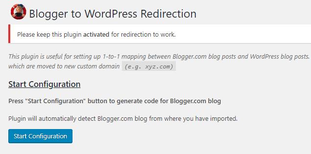 Configuring the Blogger to WordPress plugin.