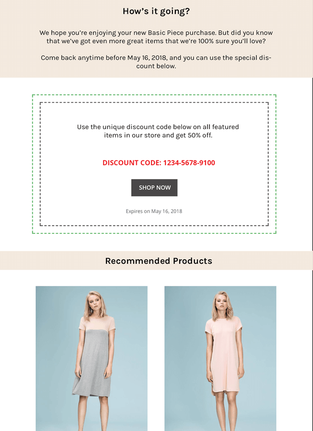 An example of a product follow-up email.