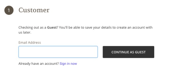 Saving your email within the checkout process.