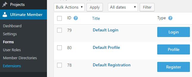 Ultimate Member's default registration form.