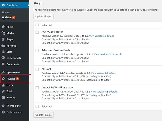 Plugin Update notification