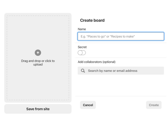 The screen that enables you to create a Pinterest board.