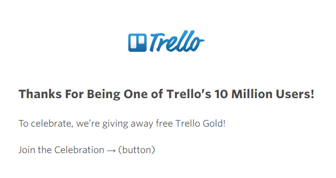 A promotional thank you email example from Trello