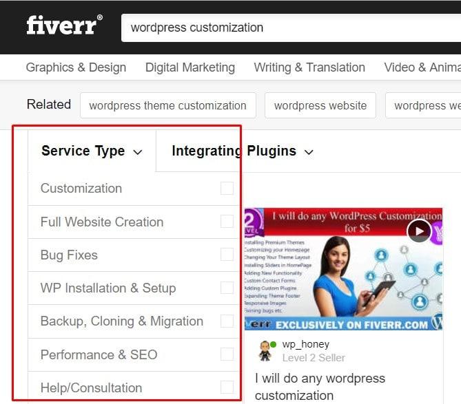 Fiverr WordPress categories