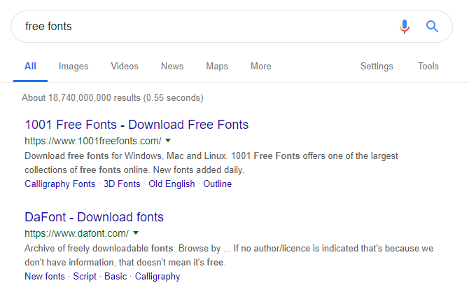 Using Google to search for free fonts.