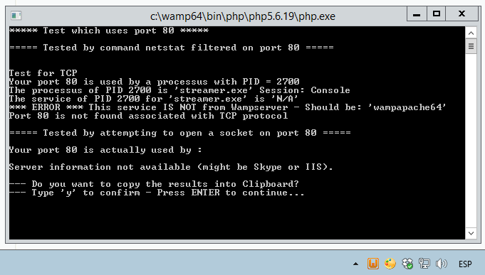 WampServer displaying an Apache port error.