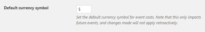 Changing the default currency for paid events.