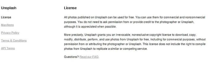 Unsplash license