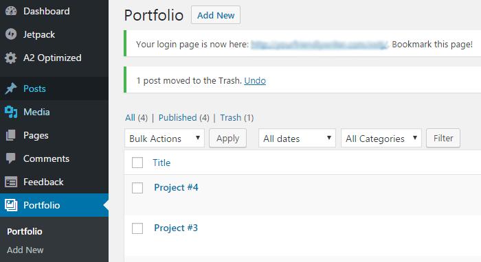 The Portfolio custom post type on the WordPress dashboard.