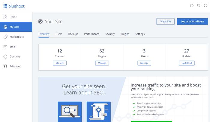 Bluehost custom hosting dashboard